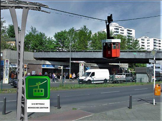 Seilbahn zwischen dem Märkischen Zentrum und S+U-Wittenau